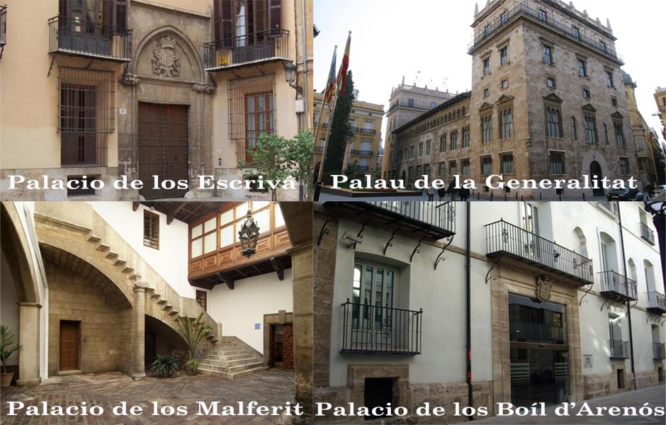 Palacios y casas nobles de Valencia. Índice