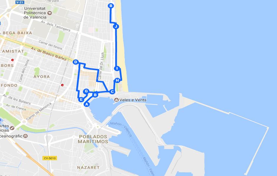 Valencia hacia el mar: Cabanyal, la playa, el puerto